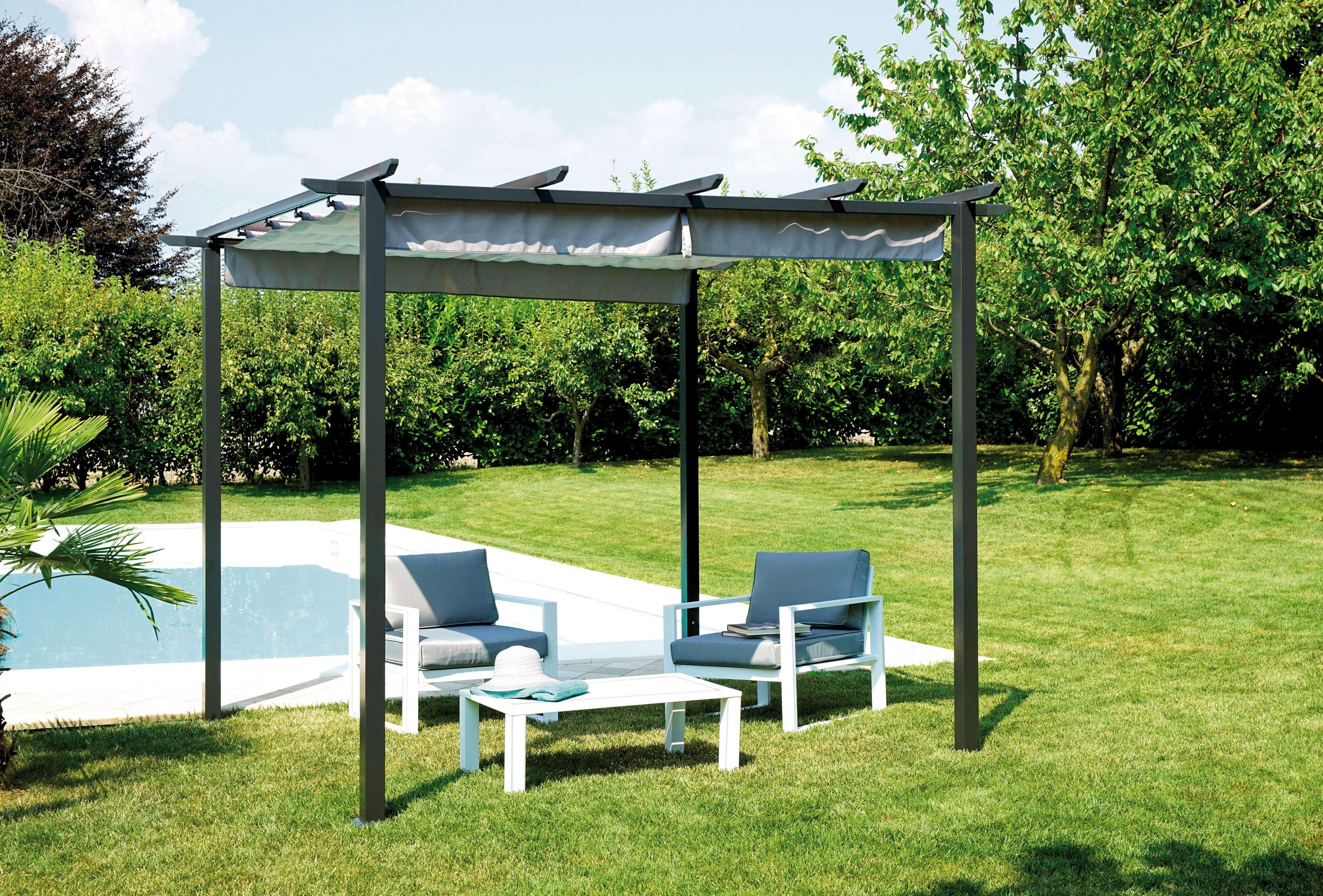 Pergola con tetto scorrevole 3x3 m greenwood mobili da giardino - Pergola giardino ...